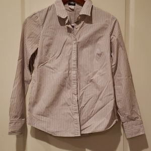 JCrew button up red black stripped